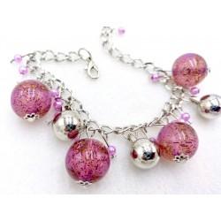 Pink ball chain bracelet