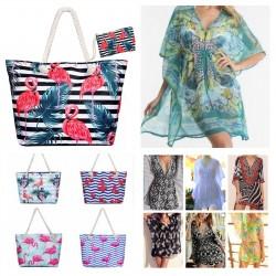 Kaftan y bolsos de playa mix