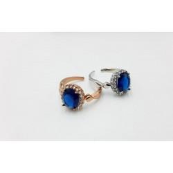 Anillos de rodio cristal azul