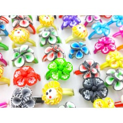 Anillos fimo flores - Pack